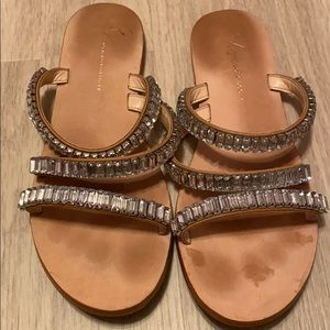 anthropologie jeweled crystal sandals